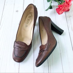 Tod's Brown Loafer Heel Pumps Size 9